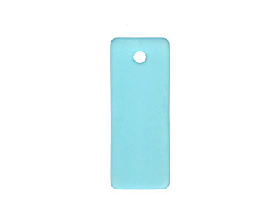 Barbados Blue Recycled Glass Bottle Curve Rectangle 14x35mm