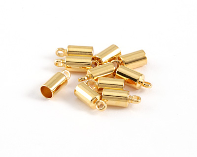 Gold (plated) Cord End w/ Loop 4mm