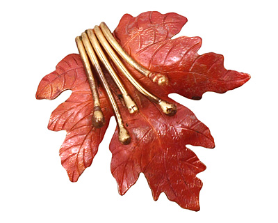 Patricia Healey Copper Embellished Maple Leaf Pendant 51x52mm