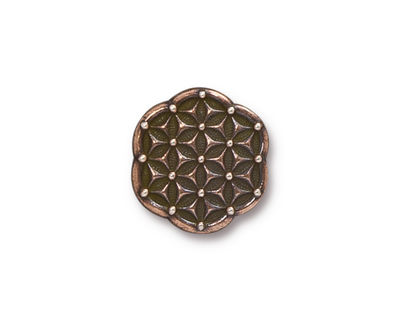 TierraCast Antique Copper (plated) Flower Of Life Button 16mm