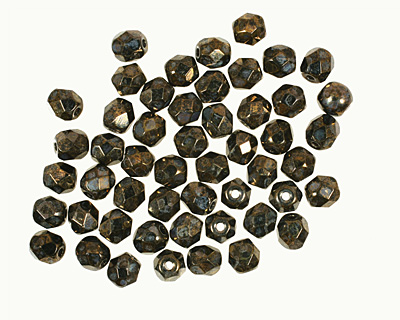 Czech Fire Polished Glass Jet Bronze Picasso Round 4mm
