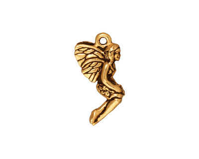 TierraCast Antique Gold (plated) Leaf Fairy Charm 10x21mm