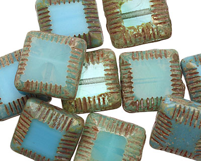 Czech Glass Caribbean Blue/Beach Glass Mix Carved Square 13mm