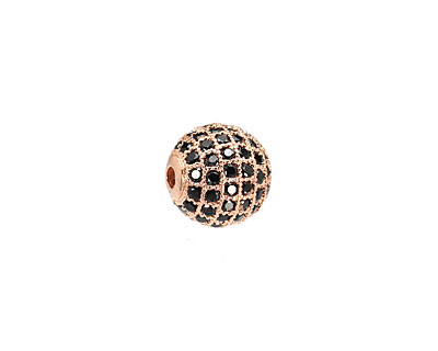 Rose Gold (plated) & Jet CZ Micro Pave Round 10mm