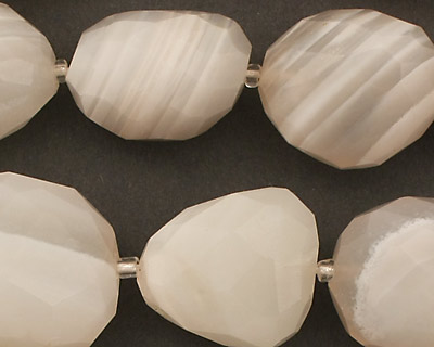 White Agate (banded) Faceted Nugget 20-26x13-19mm