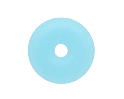 Opaque Blue Opal Recycled Glass Donut 25mm
