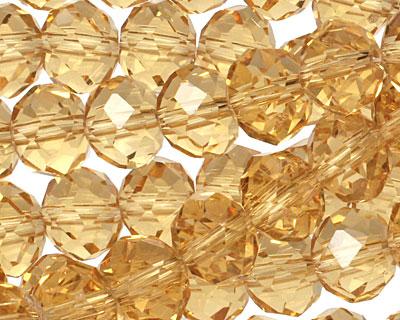 Light Topaz Crystal Faceted Rondelle 10mm