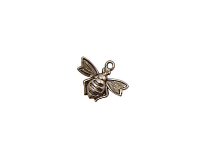 Stampt Antique Pewter (plated) Flying Bee Charm 13x10mm