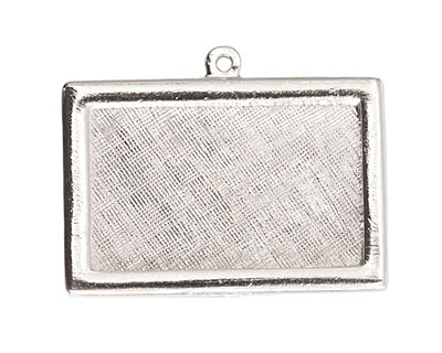 Nunn Design Sterling Silver (plated) Horizontal Rectangle Framed Pendant 37x25mm