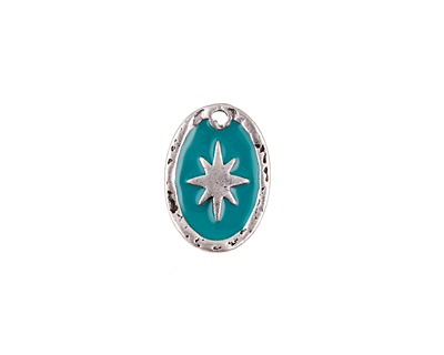 Zola Elements Turquoise Enamel Antique Silver (plated) Starburst Oval Focal 11x15mm