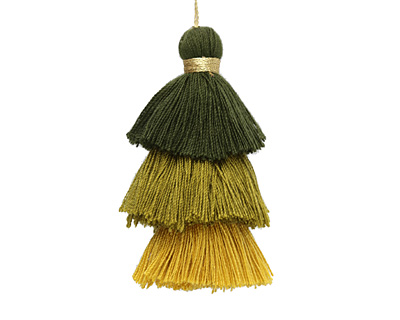Mossy Mix 3-Tiered Tassel 75mm