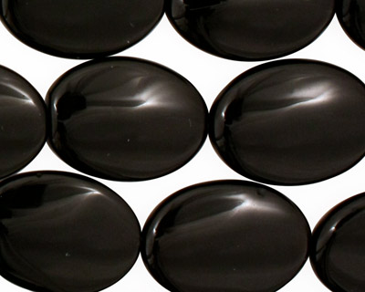 Black Onyx Flat Oval 20x15mm