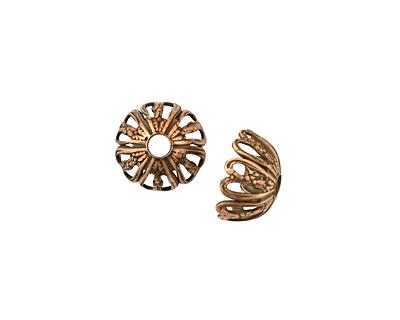 Stampt Antique Copper (plated) Six Cutout Hearts Bead Cap 11x6mm