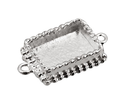 Nunn Design Sterling Silver (plated) Mini Ornate Rectangle Bezel Link 24x14mm