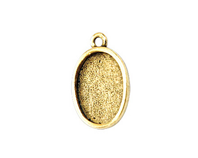 Nunn Design Antique Gold (plated) Mini Oval Frame Charm 19x12mm