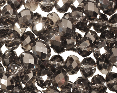 Smoky & Jet Hematite Crystal Faceted Rondelle 8mm