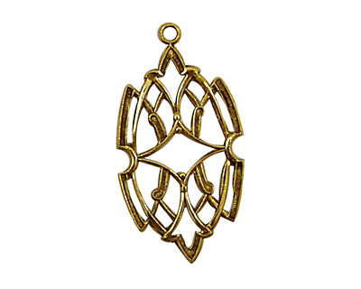 Stampt Antique Gold (plated) Stained Glass Filigree Drop 17x32mm