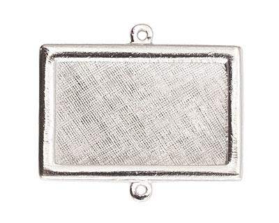 Nunn Design Sterling Silver (plated) Horizontal Rectangle Framed Pendant Link 37x25mm
