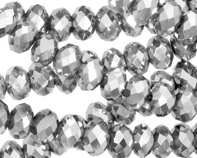 Metallic Silver Crystal Faceted Rondelle 8mm