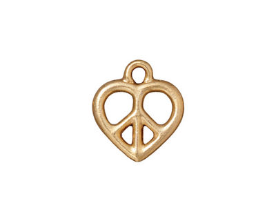 TierraCast Gold (plated) Heart Peace Charm 15x17mm