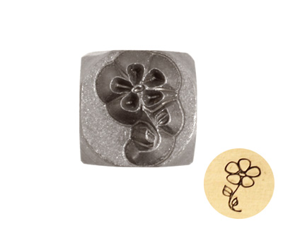Flower on Stem Metal Stamp 6mm