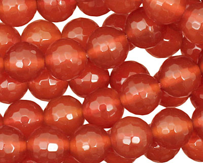 Carnelian Micro-Faceted Round 8mm