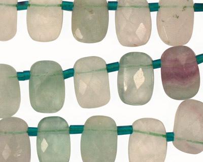 Green Fluorite Faceted Rectangle Drop 8x12mm