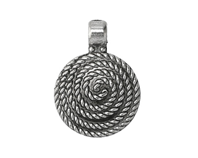 Antique Silver (plated) Roped Spiral Focal 24x32mm