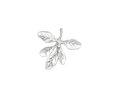 Ezel Findings Rhodium (plated) Barberry Leaves Pendant 17mm