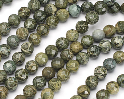 African Green Jasper Faceted Round 8mm