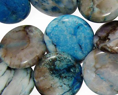 Brazil Blue Agate Puff Coin 20mm