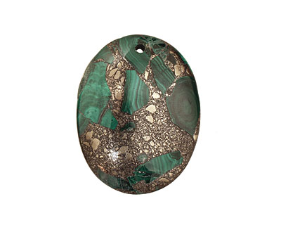 Malachite & Pyrite Oval Pendant 35x45mm