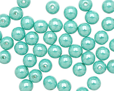 Czech Glass Luster Turquoise Round 6mm