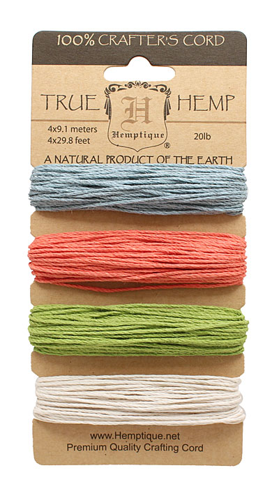 Chit Chat Hemp Twine 20 lb, 29.8 ft x 4 colors