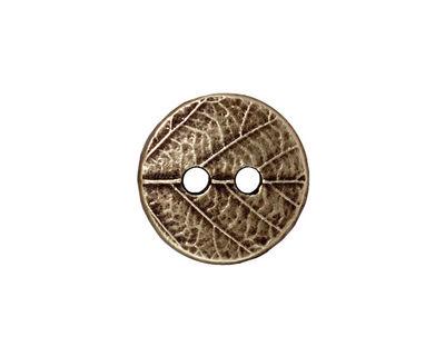 TierraCast Antique Brass (plated) Round Leaf Button 17mm
