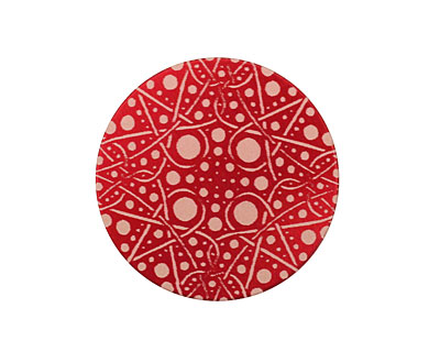 Lillypilly Red Geometrics Anodized Aluminum Disc 25mm, 24 gauge