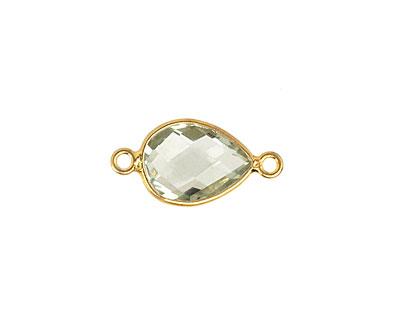 Prasiolite Faceted Teardrop Link in Gold Vermeil 19-21x9-10mm