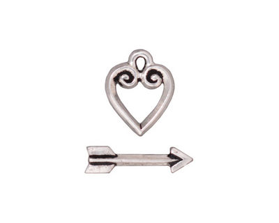 TierraCast Antique Silver (plated) Heart & Arrow Toggle Clasp 14x11mm