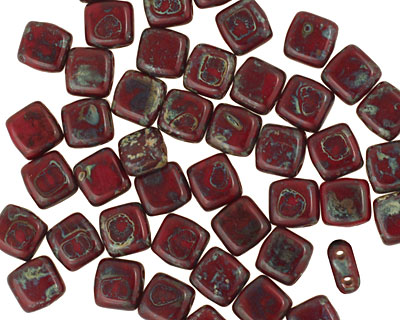 CzechMates Glass Opaque Red Picasso 2-Hole Tile 6mm