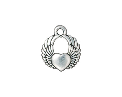 TierraCast Antique Silver (plated) Winged Heart Charm 15x17mm