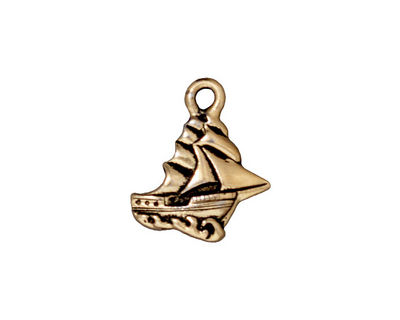 TierraCast Antique Gold (plated) Clipper Ship Charm 16x19mm
