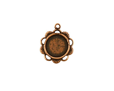 Stampt Antique Copper (plated) Spring Blossom Round Setting 9mm