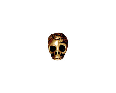 TierraCast Antique Gold (plated) Large Hole Skull Bead 7x10mm