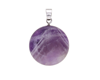 Dogtooth Amethyst Puff Coin Pendant 25x29-30mm
