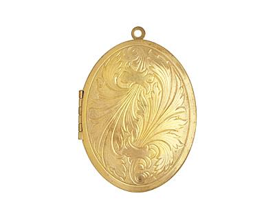 Brass Oval Feathered Heirloom Locket 48x64mm