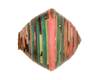 African Paper (green, pink, black) Bicone 24-25x26-27mm