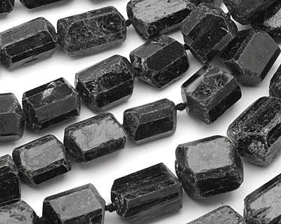 Black Tourmaline Faceted Freeform Nugget 17-33x18-23mm