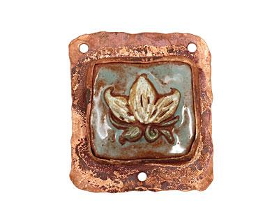 Gaea Copper Frame Ceramic Lotus 3-Hole Pendant 35-39x40-45mm