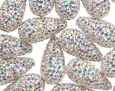 Crystal AB Pave (w/ Preciosa Crystals) Teardrop 19x10mm (1.5mm hole)