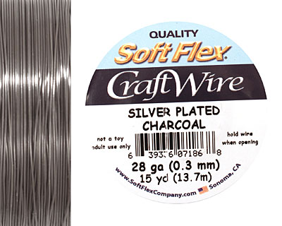 Soft Flex Silver Plated Charcoal Craft Wire 28 gauge, 15 yards